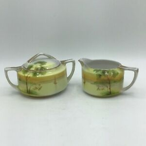 Antique Hand Painted Nippon Sugar Bowl & Creamer Tranquil Boating Scene Gold