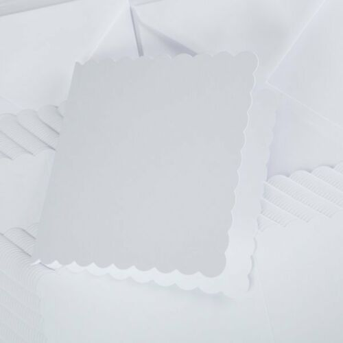 """10 White 6/"""" Square Card Blanks With Scalloped Edges /& White Envs NEW"""