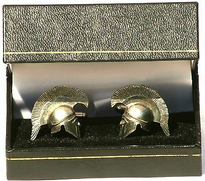 Greek Soldier Helmet Pewter Cufflinks Gift Boxed / Pouched QUANTITY DISCOUNT