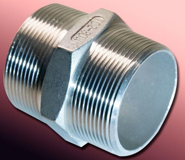 Edelstahl Doppelnippel 1/4 - 3/8 - 1/2 - 3/4 - 1 - 1 1/4 - 1 1/2 - 2 - 3 Zoll