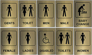 Image Is Loading Gold Aluminium Toilet Sign 100x150mm Ladies Women Baby