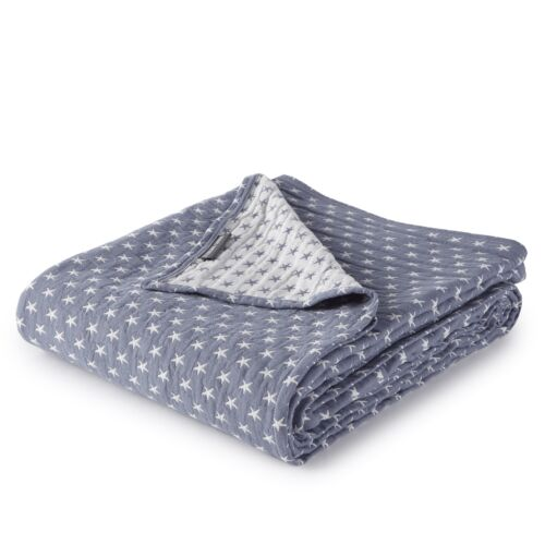 Blue Sterling Creek 3-Layer Soft Gauze Cotton Lightweight Reversible Blanket