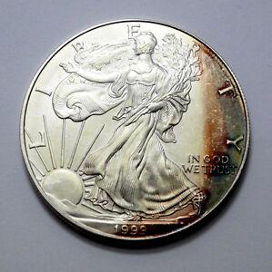 1999 American Silver Eagle Dollar 1 OZ Fine Silver Unc/MS Nat. Muskelaufbau