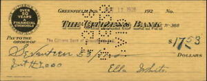 1928 Greenfield Indiana (IN) The Citizens Bank of Greenfield Indiana check for $
