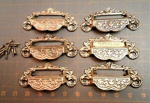 6-Vintage-Apothecary-Drawer-Handles-Store-Cabinet-Bin-Pulls-Repro-Cast-Brass