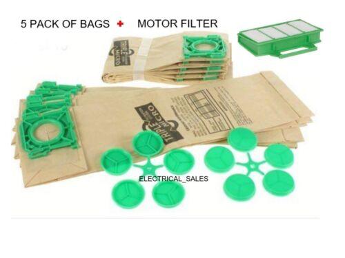 FITS SEBO K1 K3 CYLINDER VACUUM CLEANER DUST BAGS x 5 PACK /& HEPA MOTOR FILTER