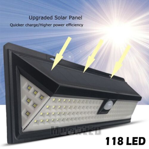 4-118LED Solar Power PIR Motion Sensor Wall Light Outdoor Garden Fence Lamp IP65