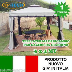 4 teli laterali chiusura di ricambio per gazebo da for Teli in pvc per laghetti da giardino