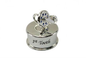 0d24698ee4ecc Details about First 1st Tooth Baby Boy Blue SilverPlated Dummy Keepsake Box  Christening Gift