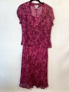 Bob-Mackie-Women-039-s-Pink-Purple-Polka-Dot-100-Silk-Dress-Set-Size-6-Style-8391