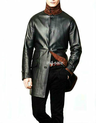 Custom Made All Size Genuine Lambskin Blazer Coat Leather Jacket Suede Trim