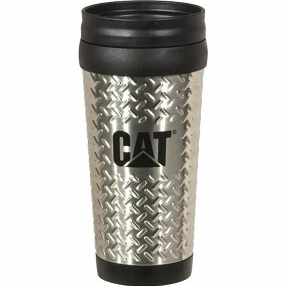 Caterpillar CAT Equipment Stainless Steel 14oz. Diamond Plated Travel Mug