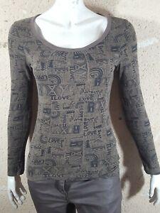 ROXY-Taille-S-36-Superbe-haut-top-tee-shirt-manches-longues-femme-marron-noir