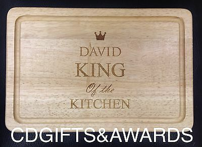 FATHERS DAY PERSONALISED KING OF THE KITCHEN WOODEN CHOPPING DAD BOARD BIRTHDAY