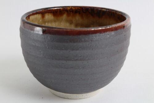 Matcha//Rice Bowl Mino ware Japanese Pottery Large Bowl Steel Gray w//Brown edge