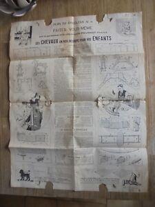 Ancien-Outil-Peugeot-Freres-Plan-du-Bricoleur-Construire-Cheval-de-Bois-A-SAUVER