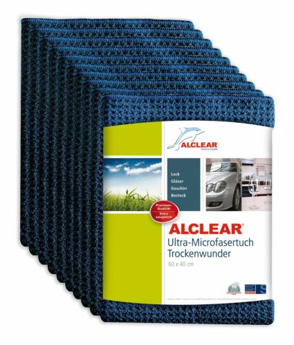 ALCLEAR® 10-er Set Ultra-Microfasertuch TROCKENWUNDER navy 60x40cm 820901 Auto