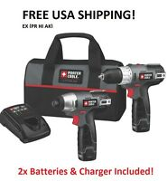 Porter Cable Pcl212idc-2 12v Drill + Driver +case + 2 Batteries +charger