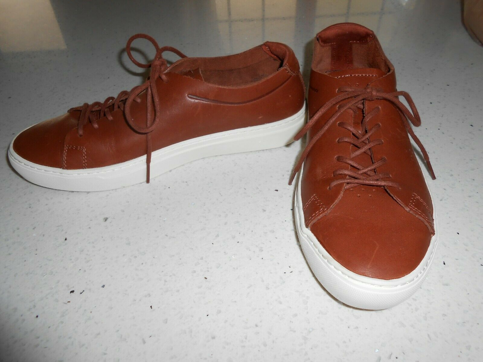 LACOSTE All Leather Brown Men's Sneaker shoes NWOB