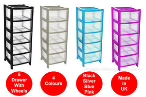 Image Is Loading 5 Drawer Plastic Storage Tower 4 Colours Strong