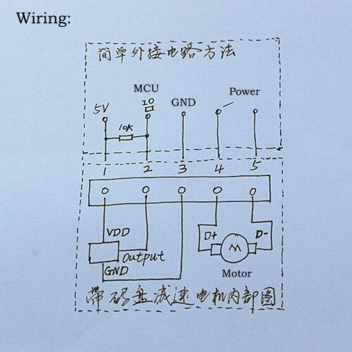 DC 5 V ~ 12 V 64 tr//min Mini 25 mm metal gear motor gearbox Speed Encoder À faire soi-même Robot Voiture