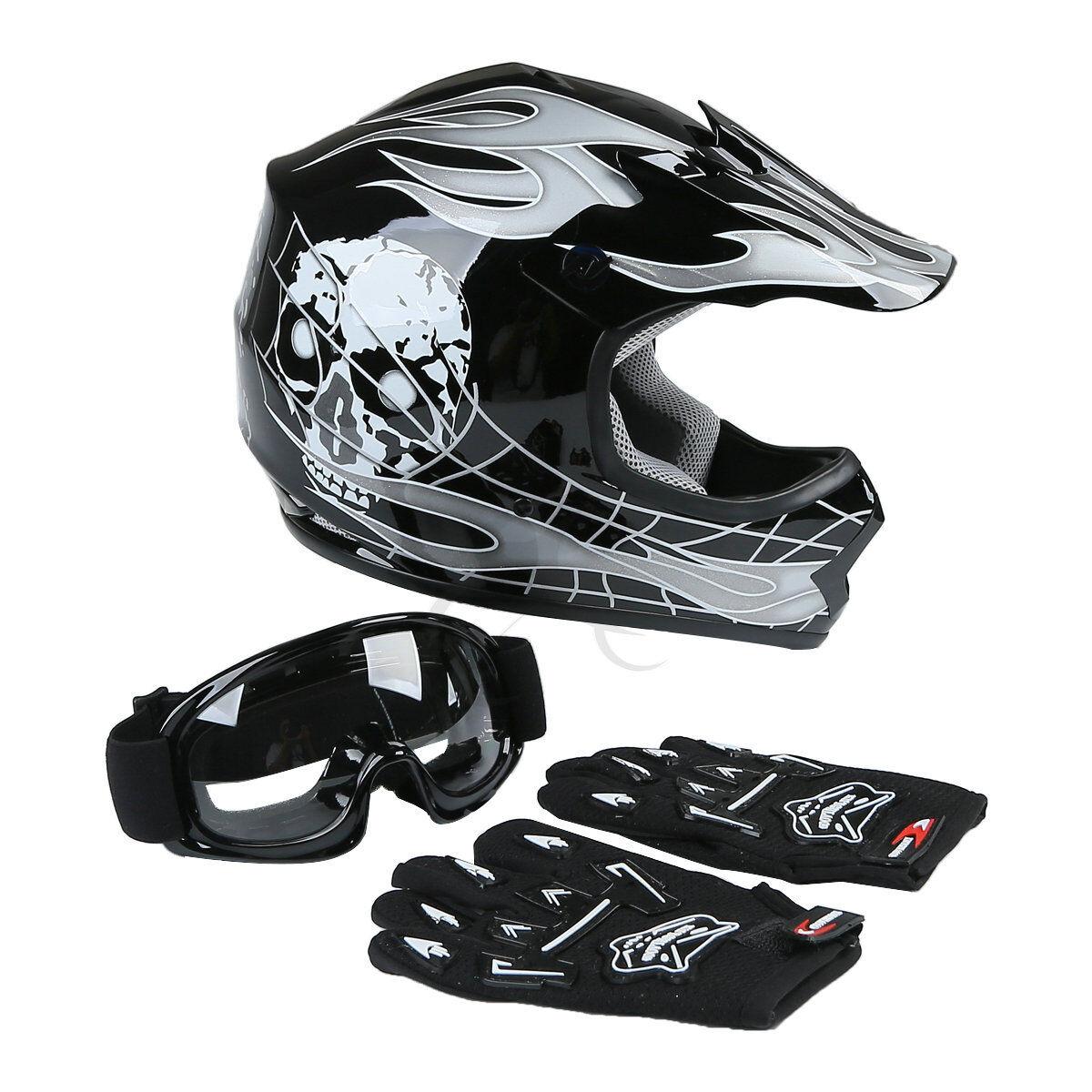 DOT Youth ATV Motocross Dirt Bike Skull Helmet with Goggles Gloves S M L XL Size