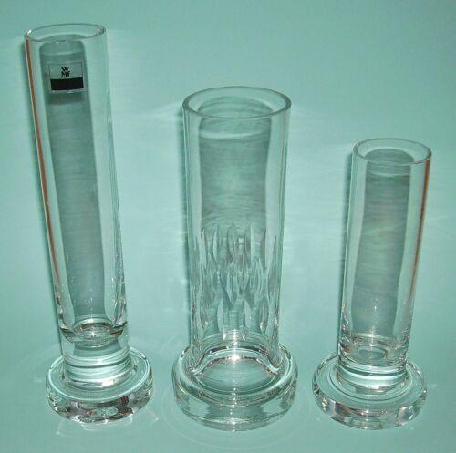 3 ältere Vasen Glasvasen WMF Kristallglas Zylinderform 19,5 cm, 23 cm + 27,5 cm