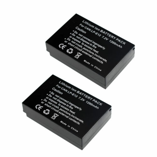 2 pack LP-E12 Battery LED Dual Charger TYPE C Input FOR CANON EOS M10 M50 M100