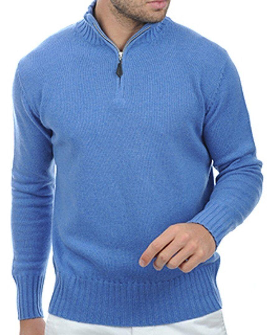 Balldiri 100% Cashmere Cashmere Uomo Pullover Troyer Troyer Troyer 4 fädig BLU MELANGE XL da7a68