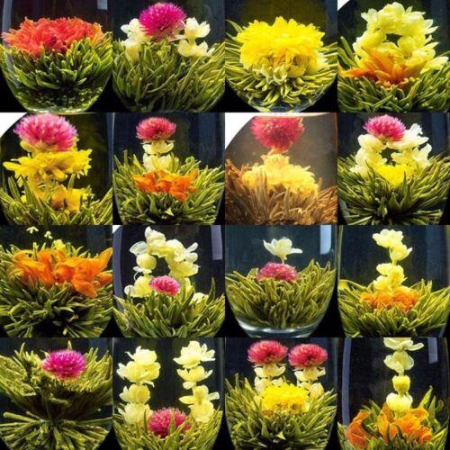 16Pcs Different Handmade Blooming TEA,Artistic flowering Green Flower ball
