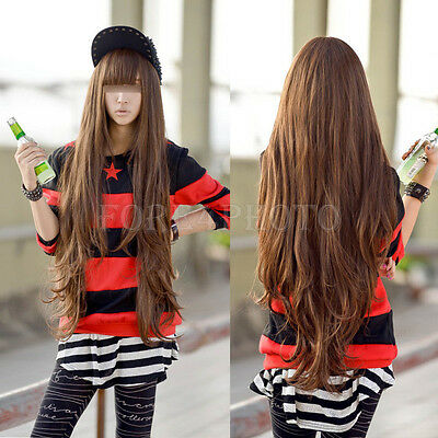 Fashion Women Girl Long Wavy Full Wig Cosplay Party Props Brown Curly Hair New