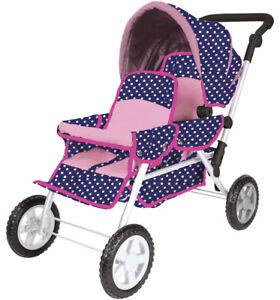 Knorrtoys-Geschwisterwagen-Big-Twin-fuer-Puppen-Ocean-Pink-Dots