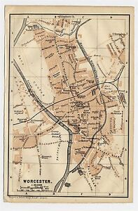 1906 Antique City Map Of Worcester Worcestershire