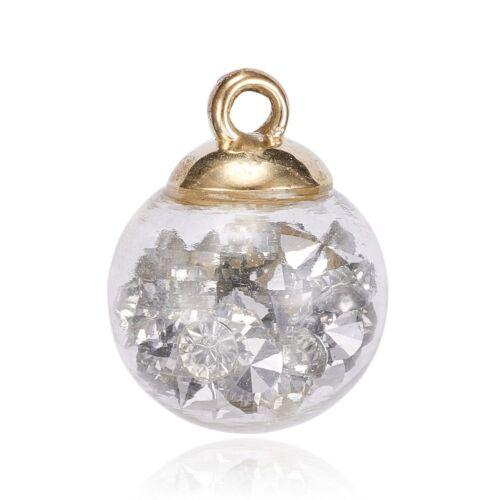 2 x CCB Golden Findings Resin Rhinestones Glass Ball Pendants Charms 21x16mm