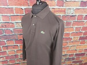 Lacoste-a-manches-longues-Polo-Shirt-Taille-4-MEDIUM-Marron