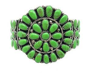 Navajo Handmade Sterling Silver Gaspeite Cluster Bracelet Juliana