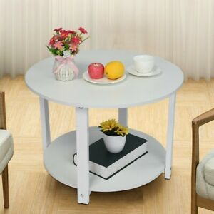 Amazing Details About Modern Round White Coffee Table 2 Layers Side End Table Living Room Furniture Machost Co Dining Chair Design Ideas Machostcouk