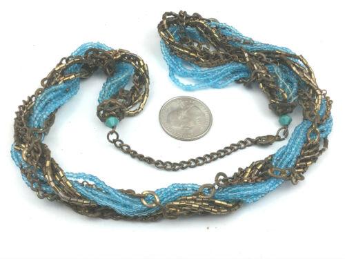 Aqua Chips Opera Style Necklace