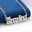 Personalized 14K Gold Plated ANY Name Plate Pendant Necklace Free Chain NEW