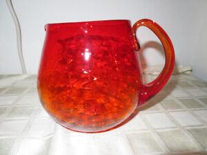 Vintage-Blenko-Amberina-Orange-Yellow-Crackle-Glass-Pitcher