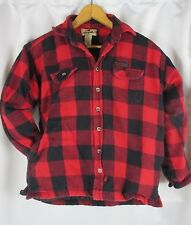 Woolrich Red Buffalo Plaid Shirt Jacket Boys L 12-14 Quilted Lining Outdoors