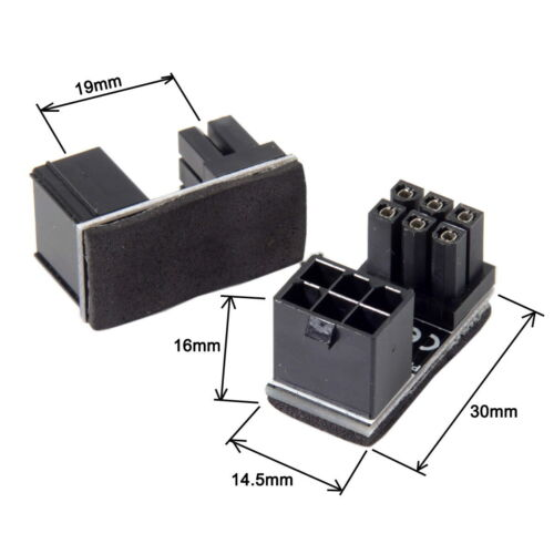 2Pc Power ATX 6pin Adapter For Graphics Card 180 Degree Angled Male to Female