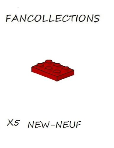 LEGO x 5 - Red Plate 2x3 - 3021  NEUF