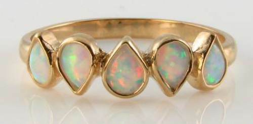 CLASS 9CT 9K gold AUS OPAL PEAR ETERNITY ART DECO INS RING  FREE SIZE K to Q 1 2