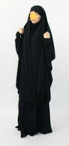 Tall Overhead French Jilbab almoultazimoun Designer Noir caviary 2 Pièce