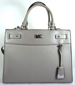 fd15b18c5145 Image is loading MICHAEL-KORS-Reagan-Pearl-Grey-Pebbled-LEATHER-Large-
