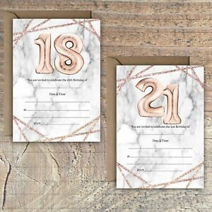 Image Is Loading BIRTHDAY INVITATIONS BLANK ROSE GOLD MARBLE BALLOON EFFECT