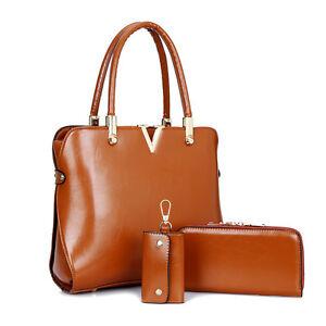 191f4d7256 Women Medium New Designer Bag Set 3 Pieces PU Leather Handbag Tote ...
