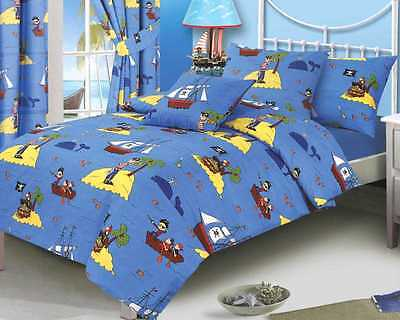 QUILT COVER SET PIRATES WHALE BLUE SEA YELLOW SINGLE BED TREASURE ISLAND DUVET