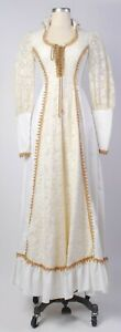 vintage 70s boho gunne sax cream poplin  lace corset
